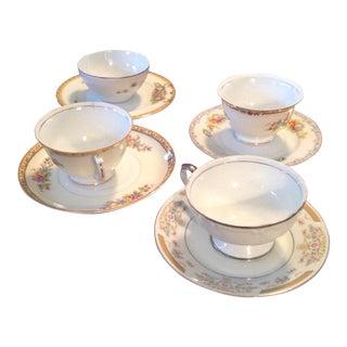 Mixed Teacups & Saucers - Set of 4