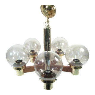 Mid Century Modern Brass & Wood Globe Chandelier