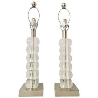 Lucite Block & Chrome Table Lamps - A Pair