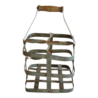 1930s French Zinc 4-Bottle Wine Carrier