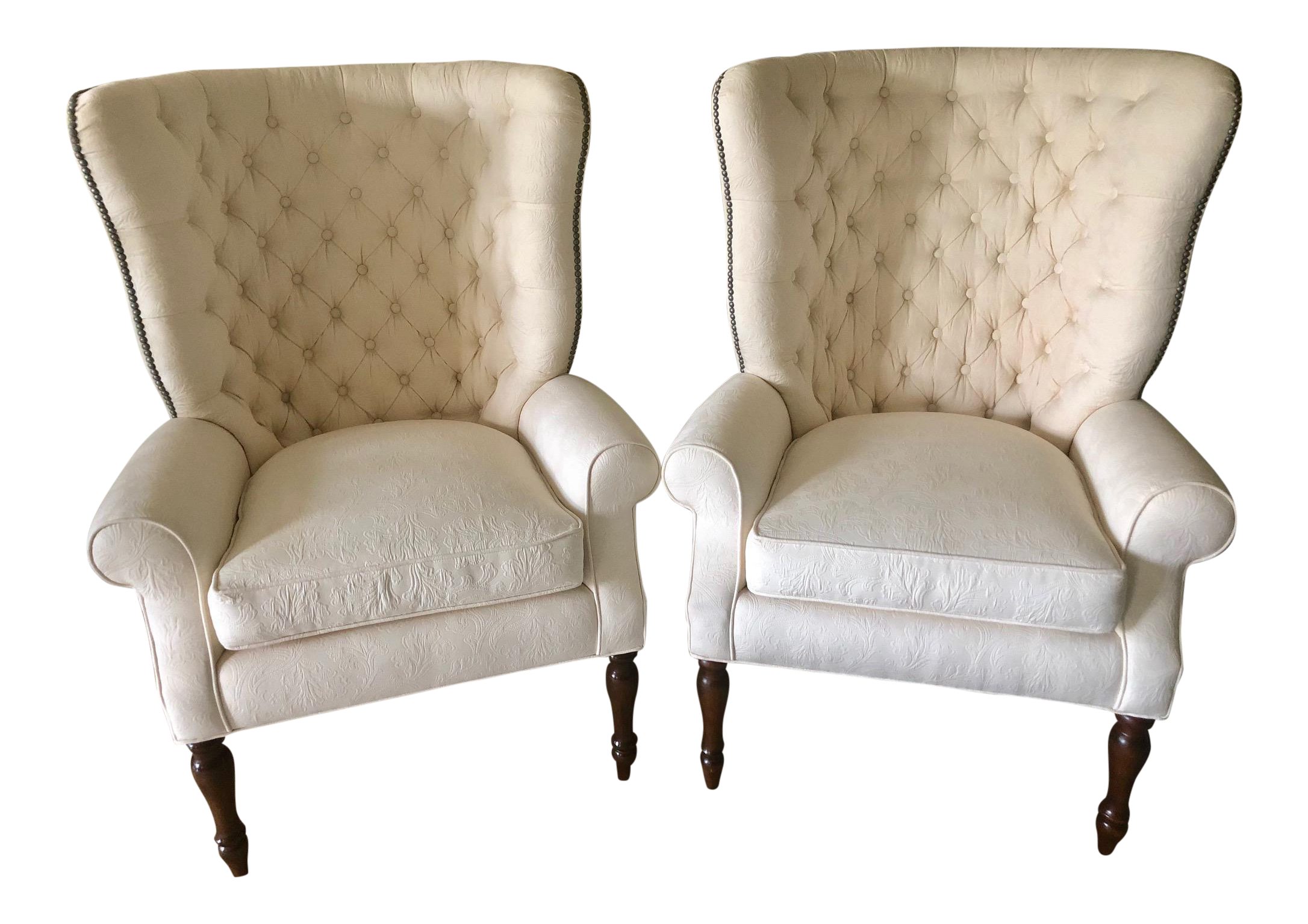 Cavalier English Wingback Chairs  A Pair
