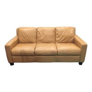 Divani Chateau d'Ax Tan Italian Leather Sofa