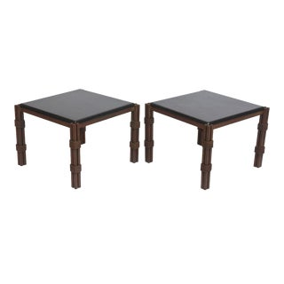 Pair of Mexican Modern Gilt and Painted Iron Marble-Top Tables by Arturo Pani