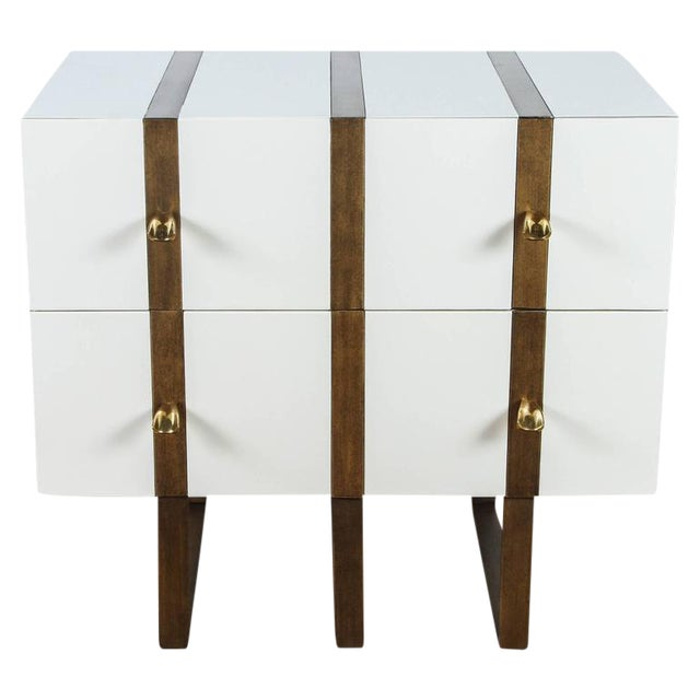 Paul Marra Two-Drawer Banded Chest in Lacquered Finish and Inset Iron Band - Image 1 of 8