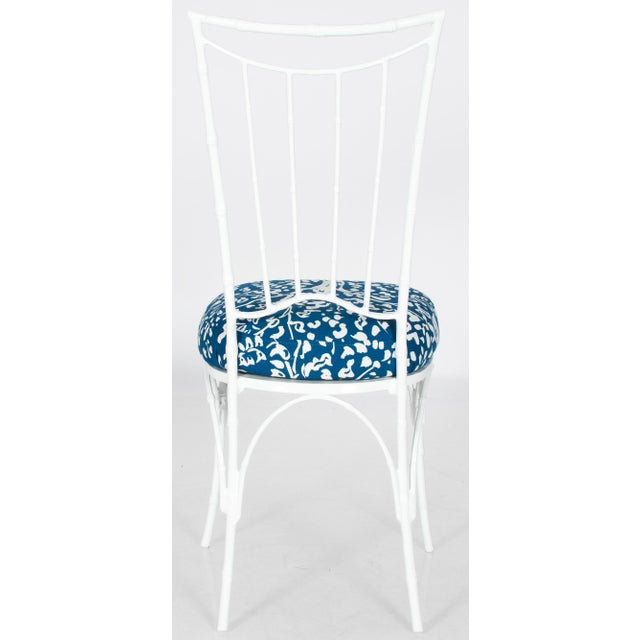 Chinoiserie White Powder-Coated Metal Faux Bamboo Dining Set - Image 9 of 9
