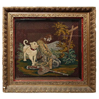 Early American Framed Man & Dog Needlework Picture