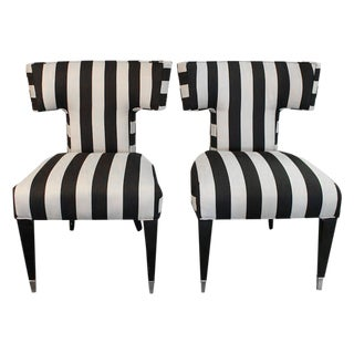 Curved T-Back Accent Chairs - A Pair