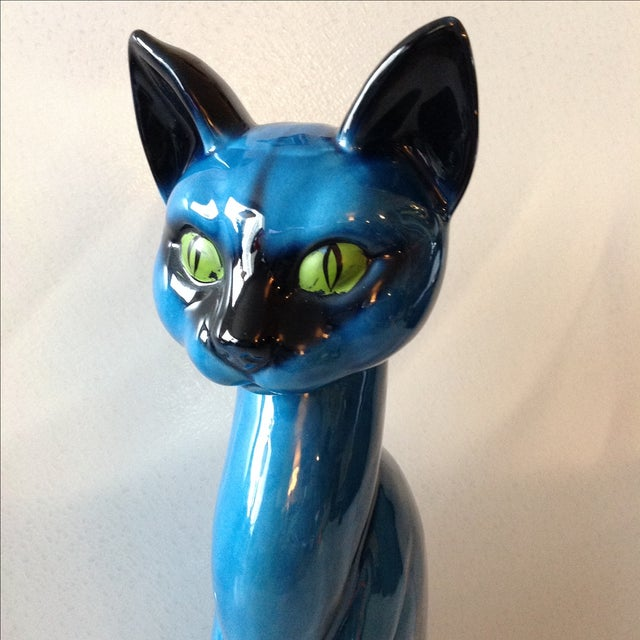 Mid-Century Modern Blue Ceramic Pottery Cat - Image 5 of 11