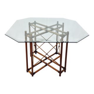Vintage Bamboo & Rattan Glass Top Table
