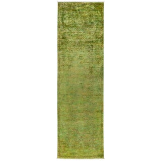 Green Over-Dyed Hand Knotted Runner - 3' X 9'5""