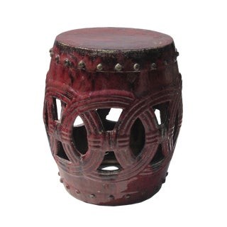 Chinese Blood Red Double Coin Round Clay Garden Stool vs658-2