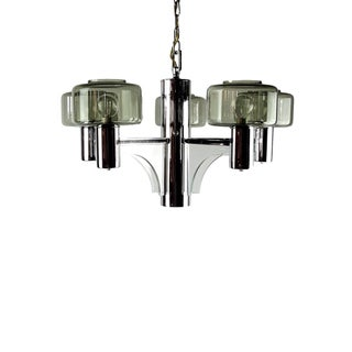 Space Age Chrome, Acrylic & Smoked Glass 5-Arm Chandelier