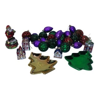 1970s Metallic Christmas Decorations - Set of 30