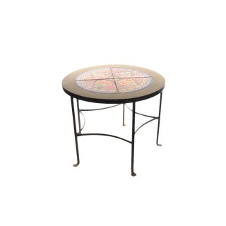 1920s California Tiles & Wrought Iron Round Coffee Table