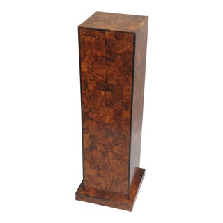 Antique Inlaid Burl Wood Patchwork Pedestal Stand Burlwood Square Column