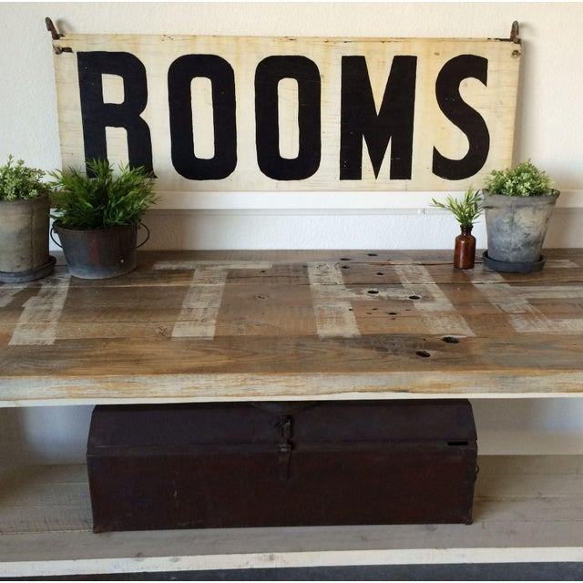 "Vintage Wood ""Rooms"" Sign - Image 6 of 6"