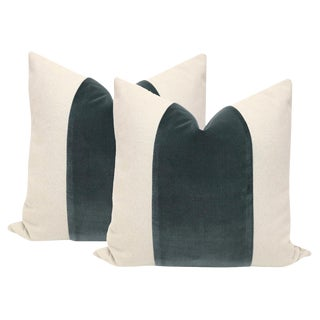 "22"" Eucalyptus Green Velvet Panel and Linen Pillows - a Pair"