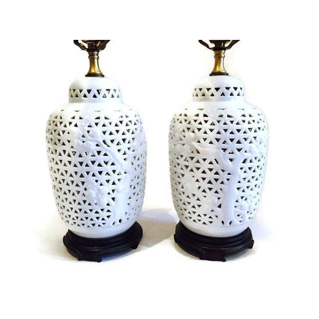 Vintage Pierced Porcelain Ginger Jar Lamps - Image 4 of 10