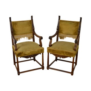 Antique 19th Century Pair of Carved Walnut Arm Chairs