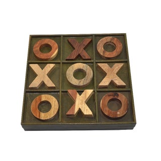 Green Leather & Wood Tic Tac Toe Game