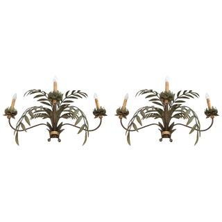 Hand-Painted Large Palm Frond Motife Sconces - a Pair