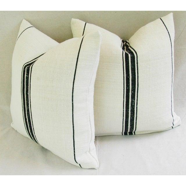 French Black Stripe Grain Sack Pillows - Pair - Image 8 of 8