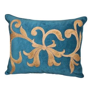 Pair of Blue Velvet Appliqued Gold Metallic Pillows