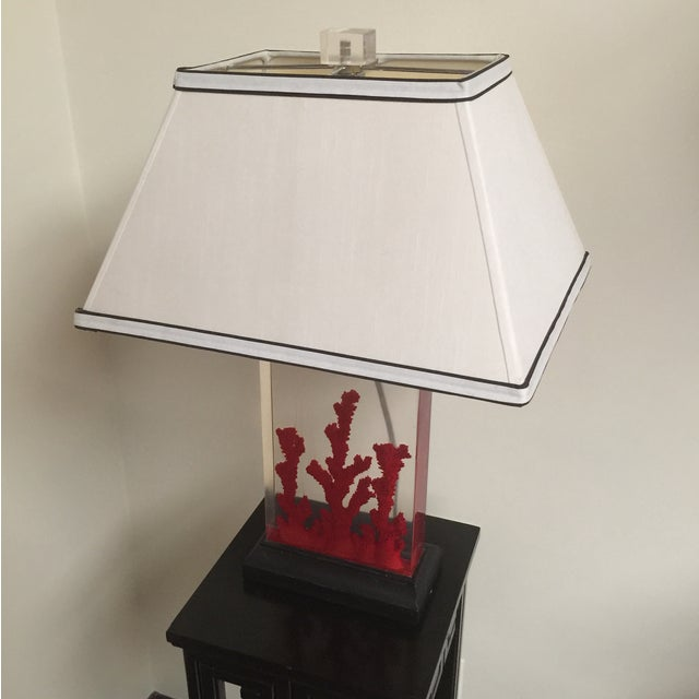 Lucite Red Coral Lamp - Image 3 of 9