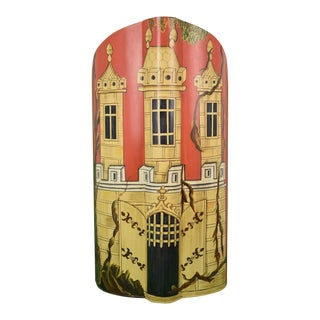 Hand-Painted Castle Turret Tin Umbrella Stand