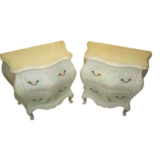 Handpainted Floral Buttefly Bed Chest Table - Pair