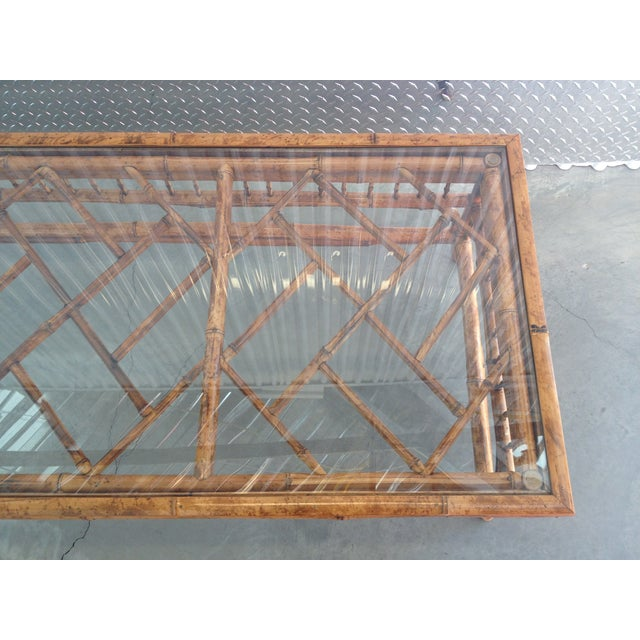 Image of Vintage Glass Top Bamboo Coffee Table