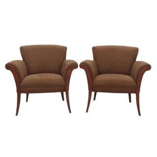 Midcentury Style Chocolate Club Chairs, Pair
