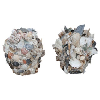 Pair of Shell-Covered Terracotta Cache-Pots