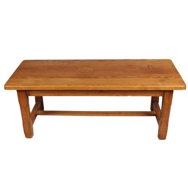 Mission Style Oak Stretcher Based Coffee Table Chairish