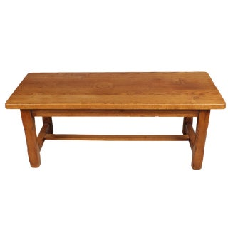 Mission Style Oak Stretcher Based Coffee Table