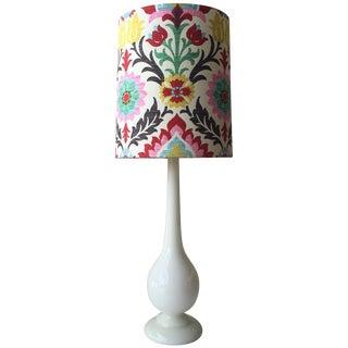 White Glass Lamp & Custom Floral Shade