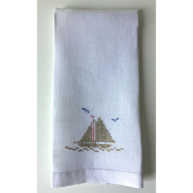 Linen Hand Embroidered Sailboat Guest Towel - Image 4 of 4
