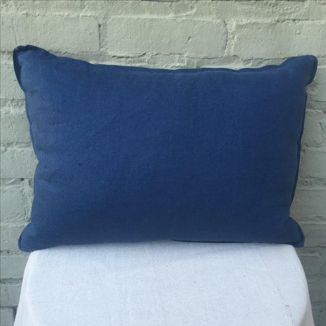 Indigo Blue & White Batik Cotton Pillow - Image 5 of 5