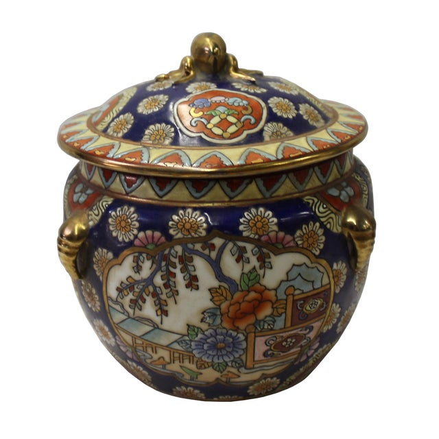Chinese Oriental Porcelain Flower Scenery Container Box - Image 3 of 6