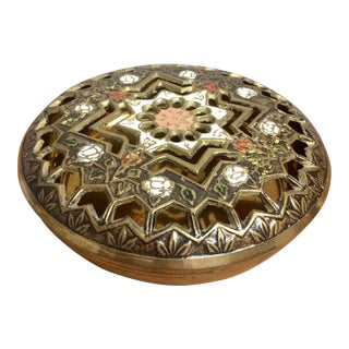 Pierced Brass Lidded Trinket Box