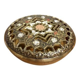 Pierced Brass Lidded Trinket Box