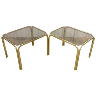 Regency Brass & Glass Waterfall Tables - A Pair