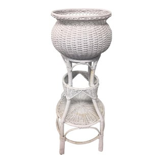 Vintage White Wicker Plant Stand