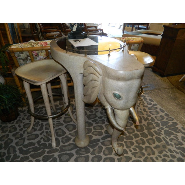 Marge Carson Elephant High Table & Stools - Set of 3 - Image 4 of 9