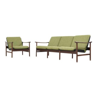 Danish Teak and Plywood Seating Group with Green Cushions, 1950s