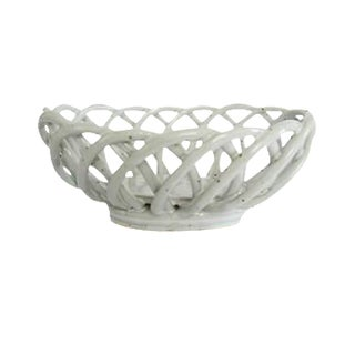 Vintage White Ceramic Speckled Pottery Open Weave Bread Serving Bowl Basket Warmer