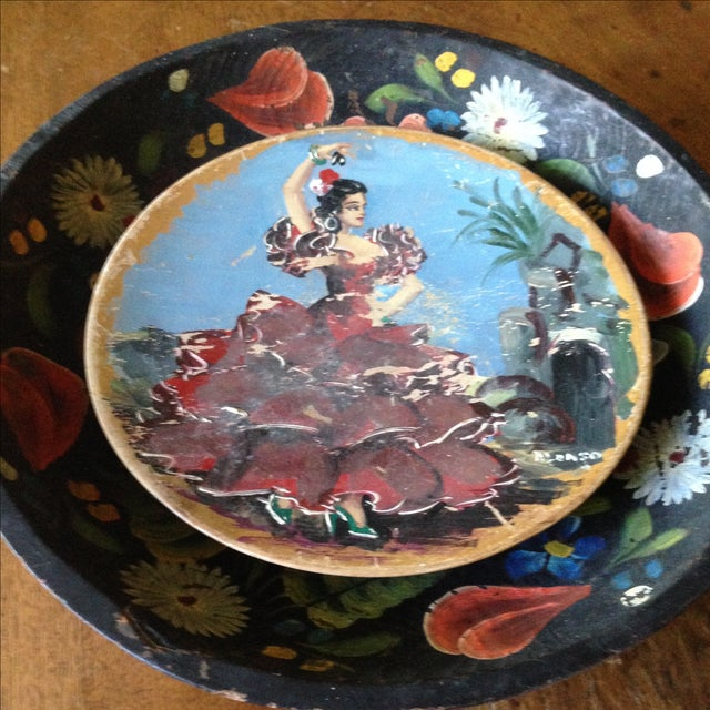 Vintage Painted Wood Decorative Plates A Pair Chairish