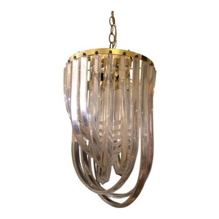 1970's Lucite Ribbon Chandelier