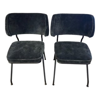 1920's Steel Gray Velvet Tubular Chairs - A Pair