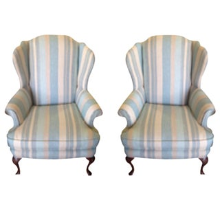 Blue Linen Stripe Wingback Chairs - a Pair